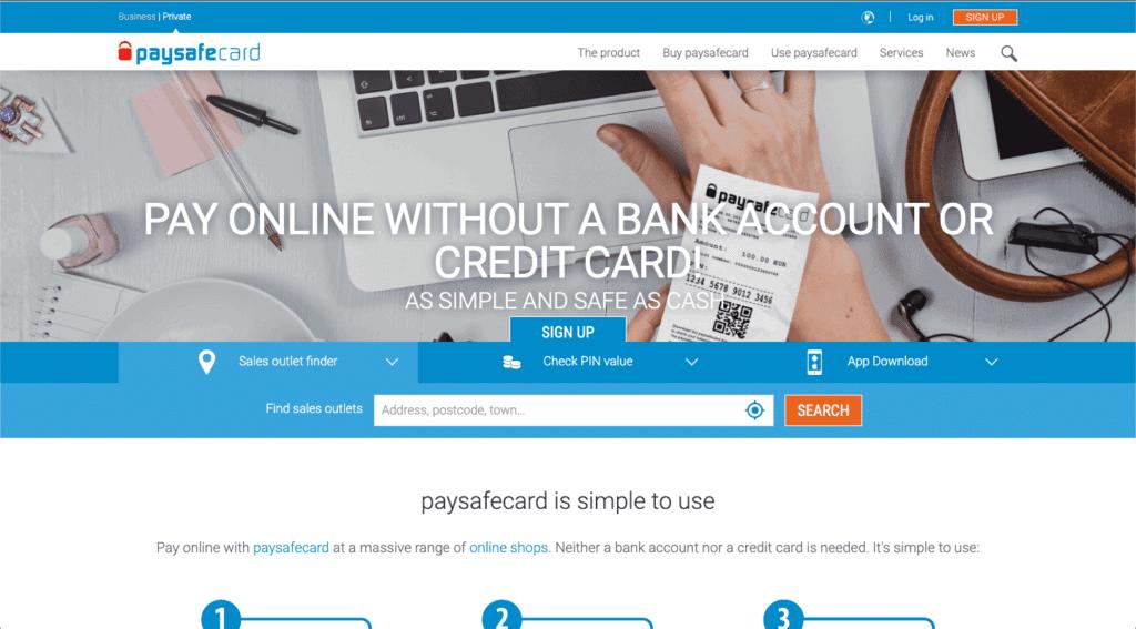 IMG - Paysafecard - Main page